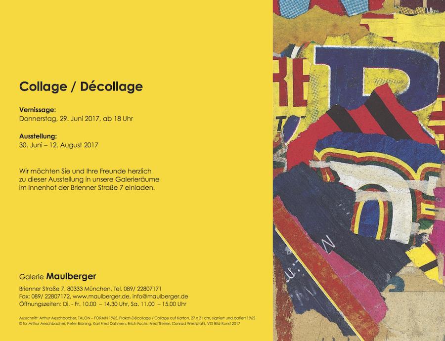 Einladungskarte Ausstellung Collage Décollage 2017 Galerie Maulberger 02