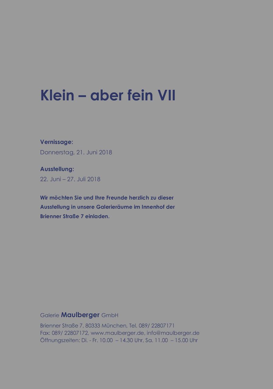 Einladungskarte Ausstellung Klein-aber fein 2018 Galerie Maulberger 02