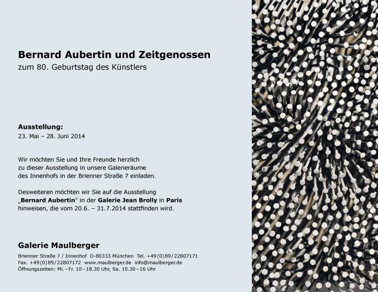 Einladungskarte Ausstellung Bernard Aubertin und Zeitgenossen 2014 Galerie Maulberger 02