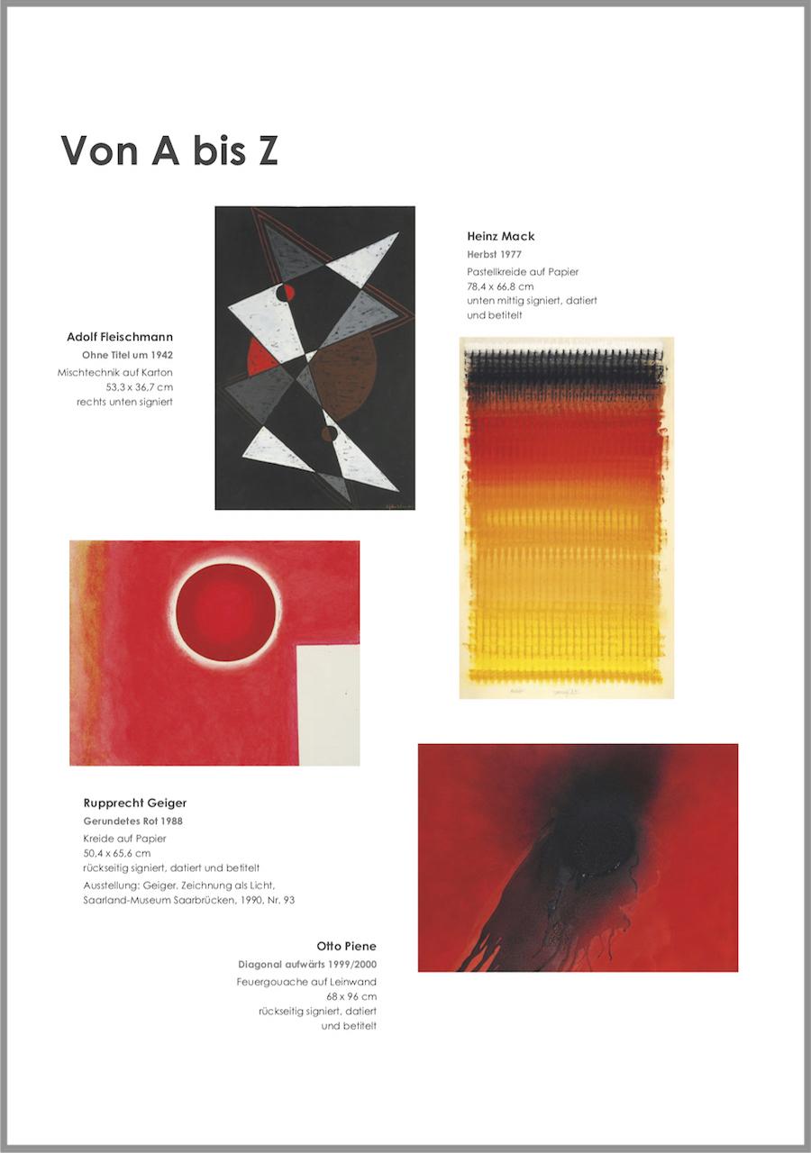 Einladungskarte Ausstellung Von A bis Z – Von Aubertin bis Zangs 2018 Galerie Maulberger 02