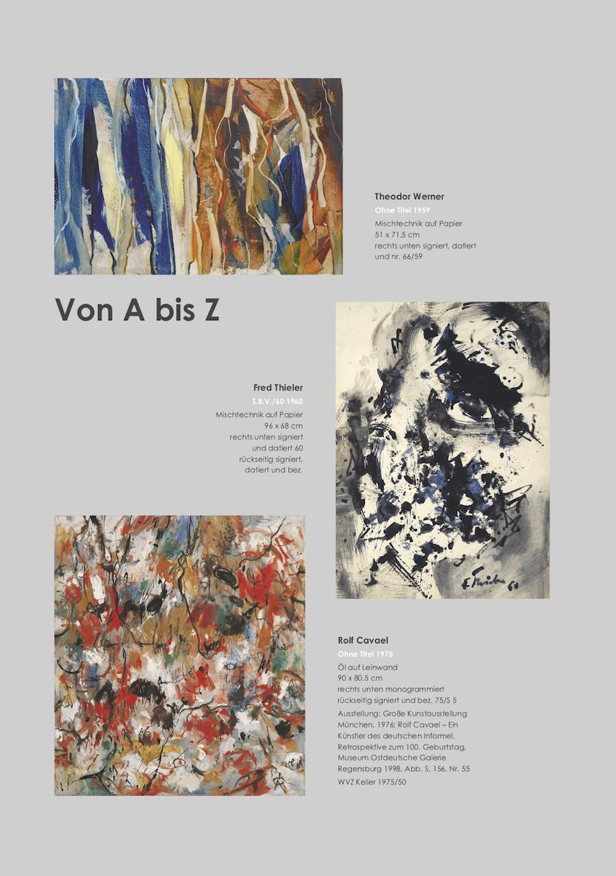Einladungskarte Ausstellung Von A bis Z – Von Aubertin bis Zangs 2018 Galerie Maulberger 03