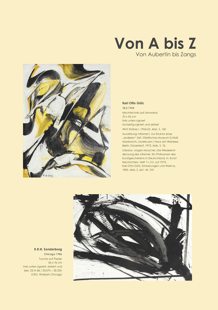 Einladungskarte Ausstellung Von A bis Z – Von Aubertin bis Zangs 2018 Galerie Maulberger 04