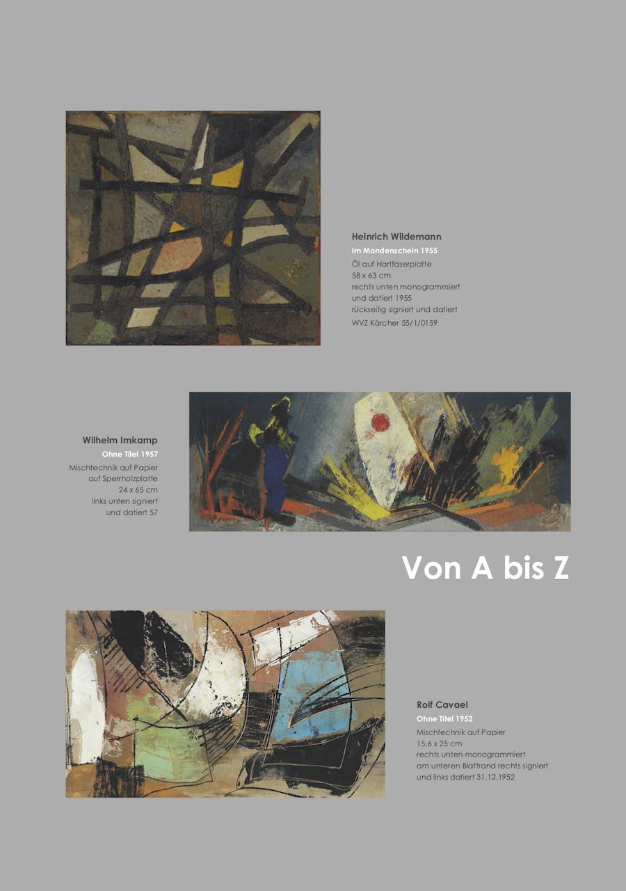 Einladungskarte Ausstellung Von A bis Z – Von Aubertin bis Zangs 2018 Galerie Maulberger 05