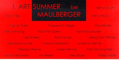 Einladungskarte Ausstellung 1. ART SUMMER 1998 Galerie Maulberger