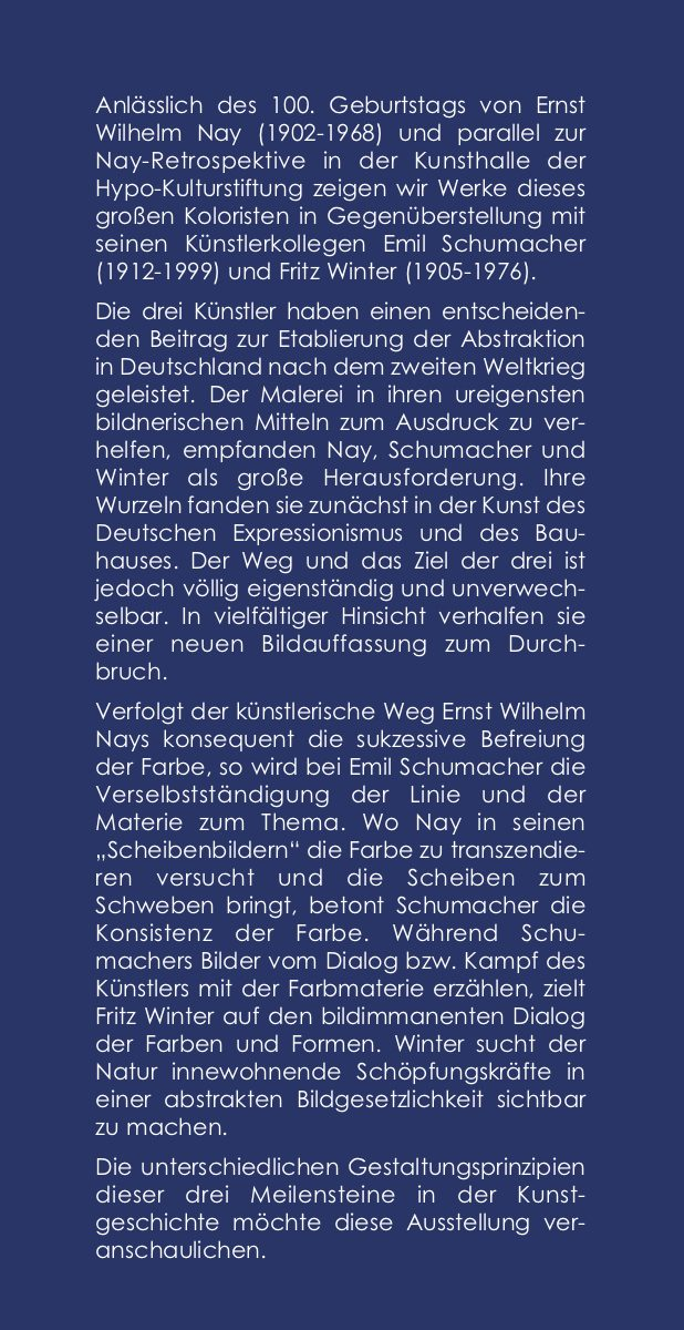 Einladungskarte Ausstellung Ernst Wilhelm Nay Emil Schumacher Fritz Winter – Kunst nach 45 2002 Galerie Maulberger 02