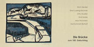 Einladungskarte Ausstellung Die Brücke zum 100. Geburtstag Heckel Kirchner Müller Nolde Pechstein Schmidt-Rottluff 2005 Galerie Maulberger