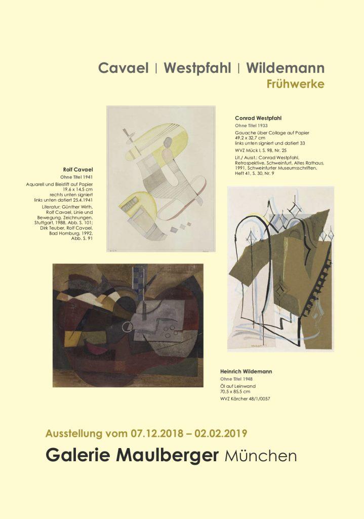 Einladungskarte Ausstellung Cavael | Westpfahl | Wildemann 2018 Galerie Maulberger 01