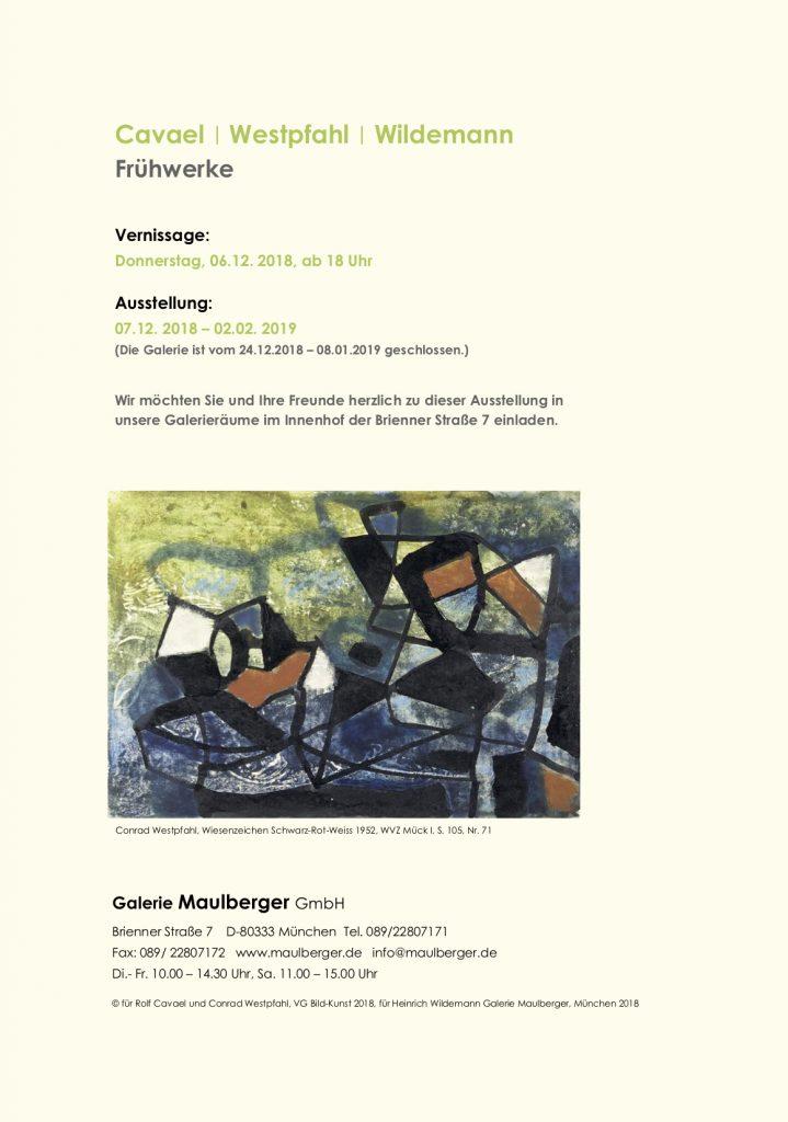 Einladungskarte Ausstellung Cavael | Westpfahl | Wildemann 2018 Galerie Maulberger 06