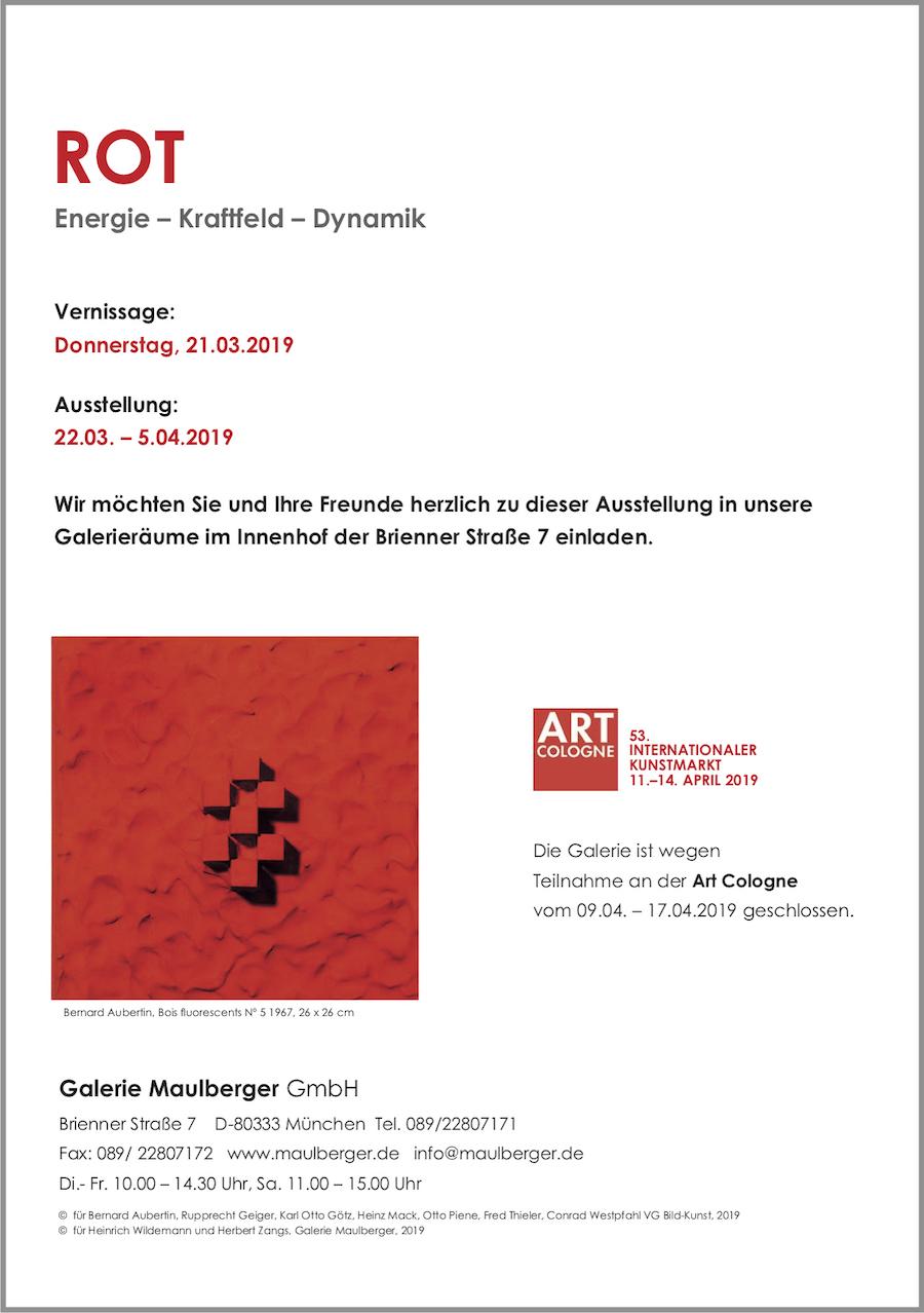 Einladungskarte Ausstellung ROT – Energie - Kraftfeld - Dynamik 2019 Galerie Maulberger 06