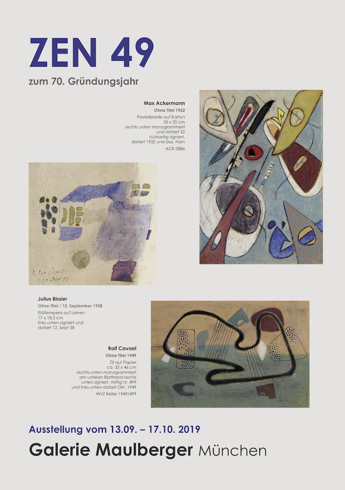 Einladungskarte Ausstellung ZEN 49 2019 Galerie Maulberger 01