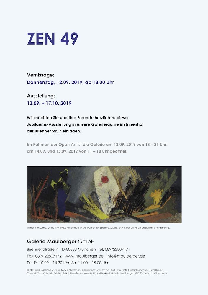 Einladungskarte Ausstellung ZEN 49 2019 Galerie Maulberger 06