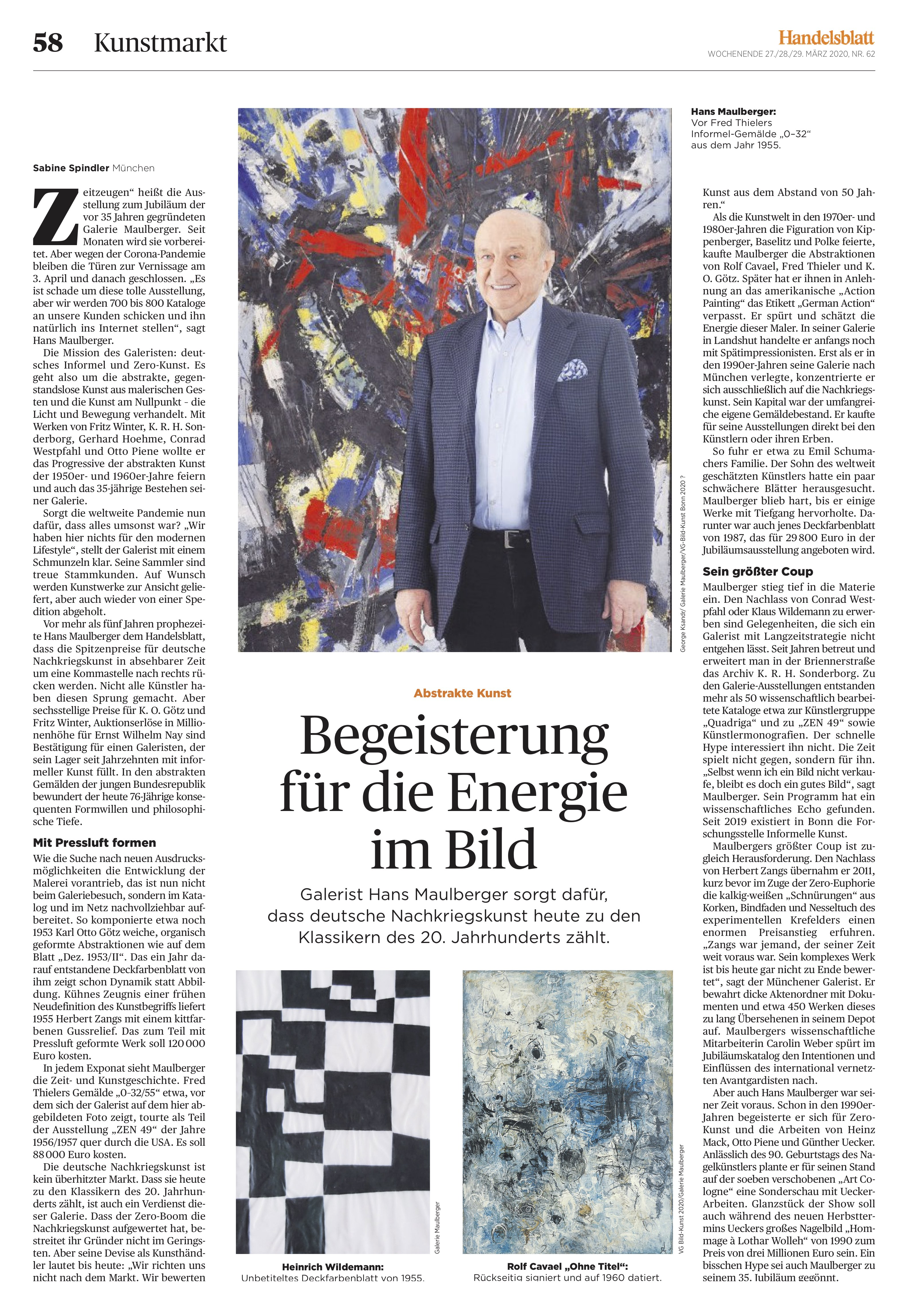 Presse Galerie Maulberger Handelsblatt 2020