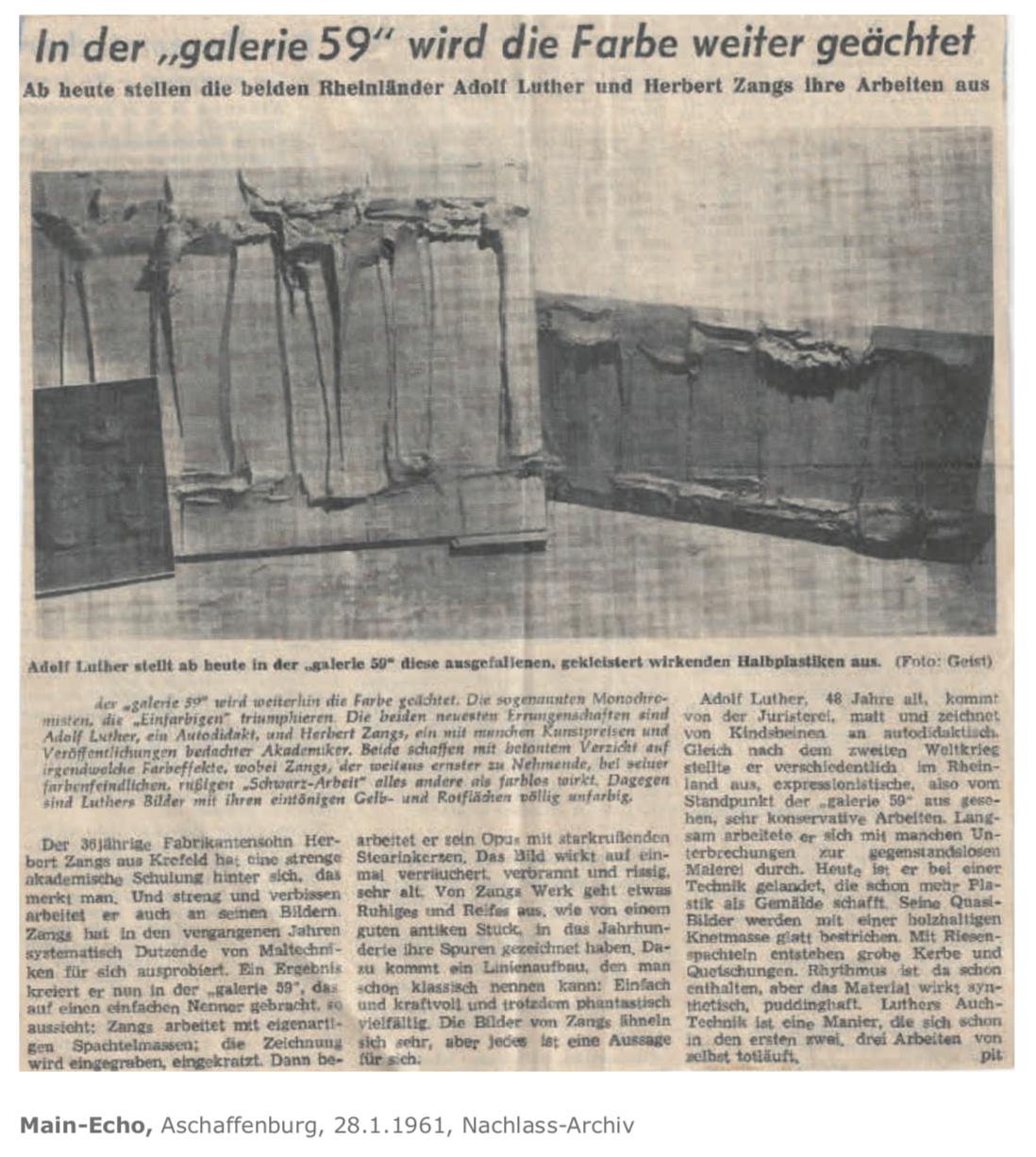 Galerie Maulberger Herbert Zangs Publikation Zeitzeugen Seite 135