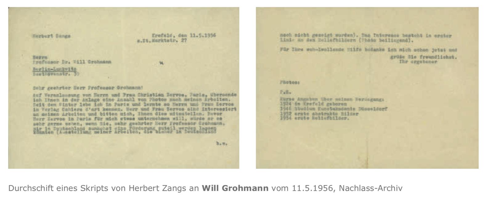 Galerie Maulberger Skript Herbert Zangs Publikation Zeitzeugen Seite 128