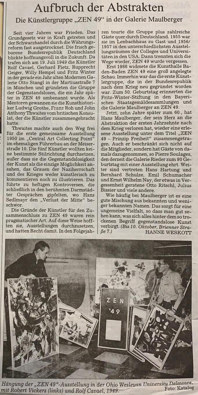 Presse Galerie Maulberger Süddeutsche Zeitung 2009
