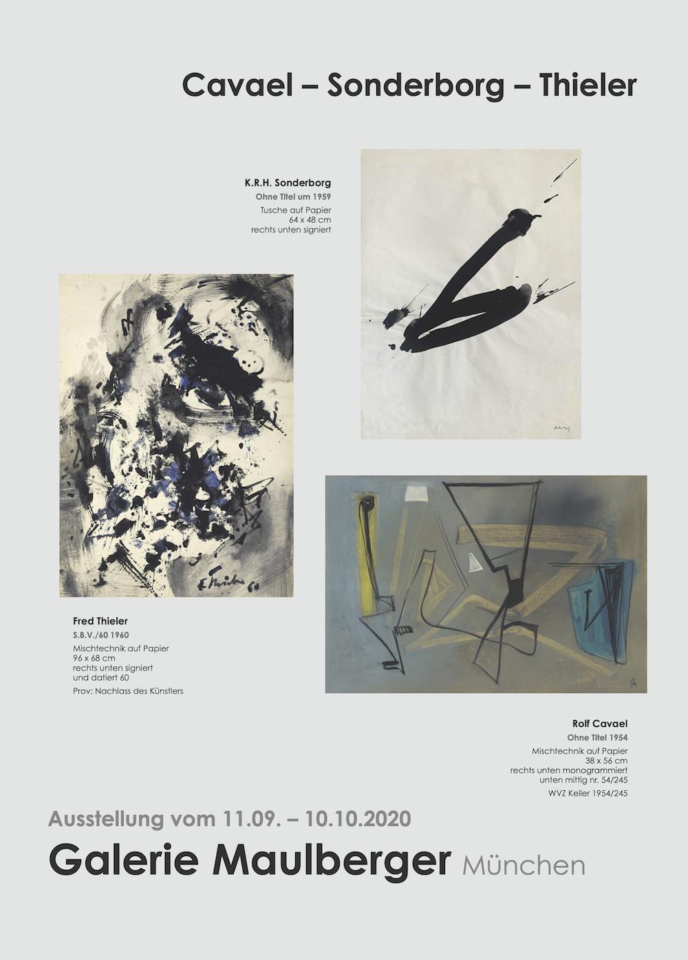 Einladungskarte Ausstellung Cavael Sonderborg Thieler 2020 Galerie Maulberger 01