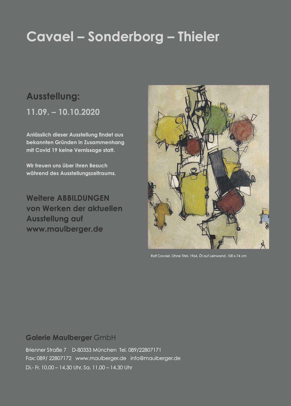 Einladungskarte Ausstellung Cavael Sonderborg Thieler 2020 Galerie Maulberger 06