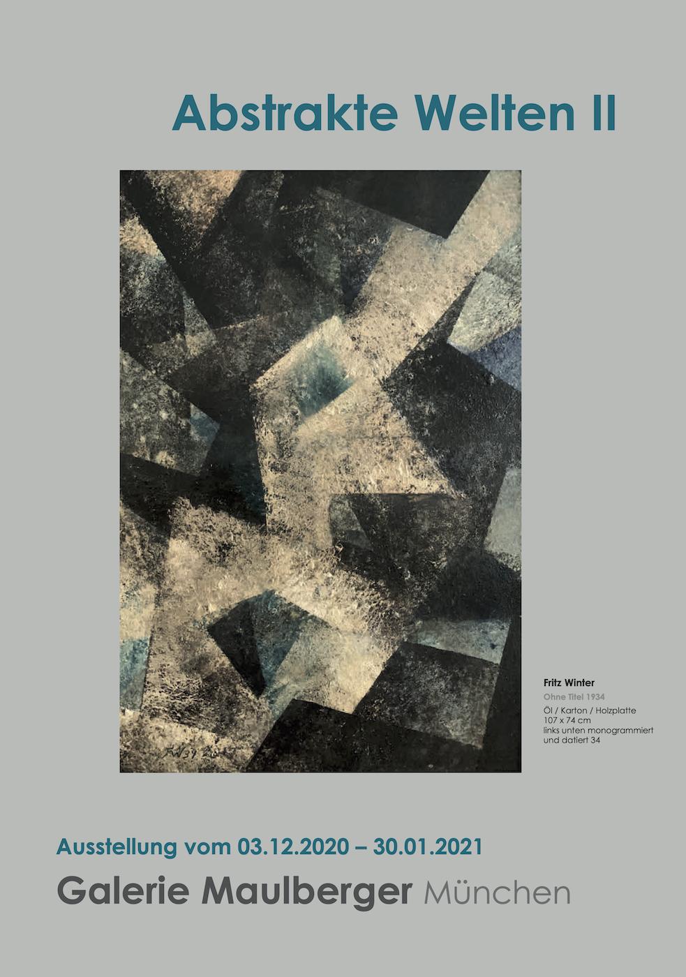 Einladungskarte Ausstellung Abstrakte Welten II 2020/2021 Galerie Maulberger 01
