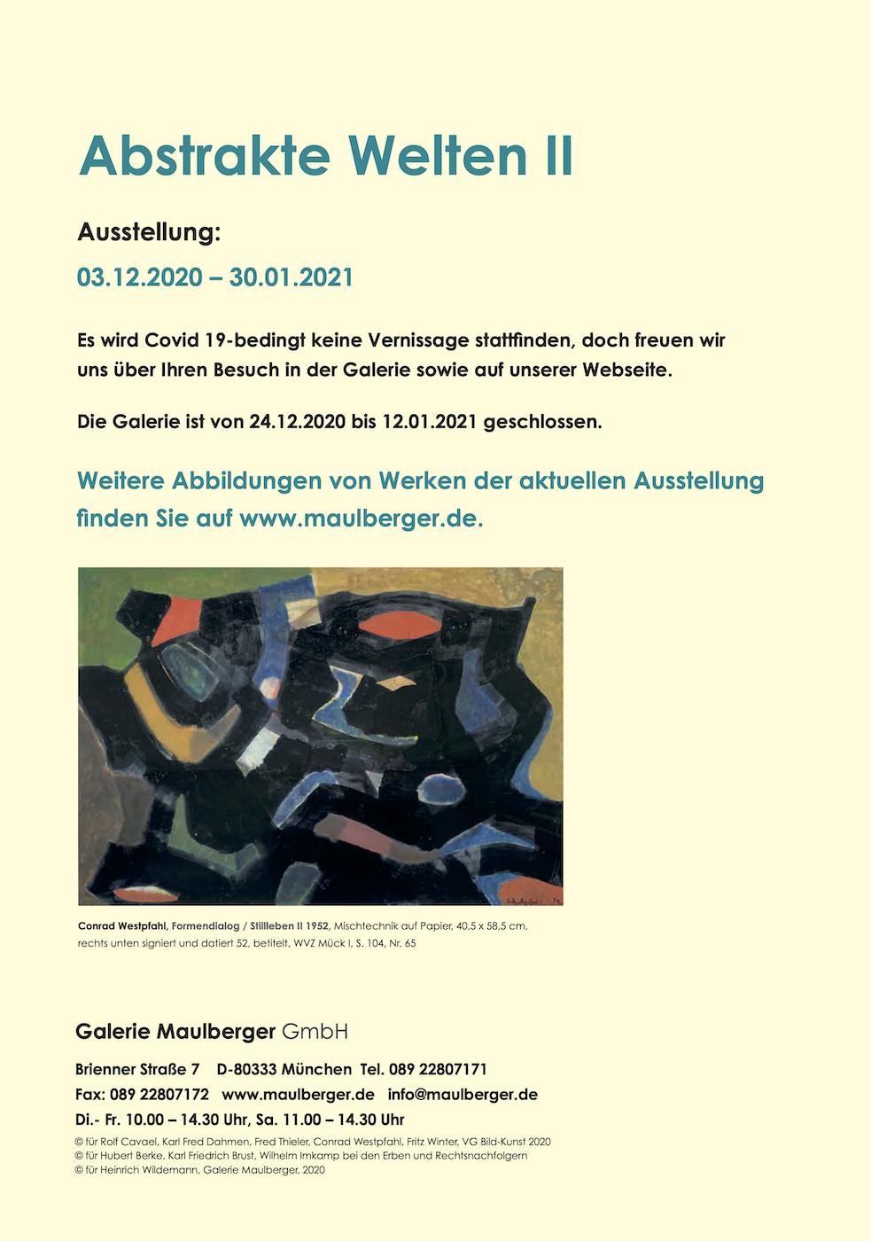 Einladungskarte Ausstellung Abstrakte Welten II 2020/2021 Galerie Maulberger 06