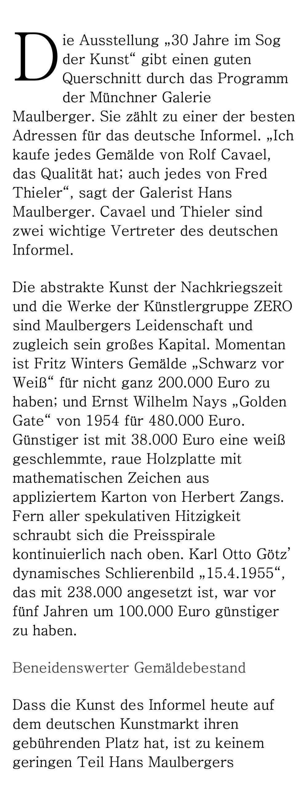 Presse Galerie Maulberger Handelsblatt 2014 02