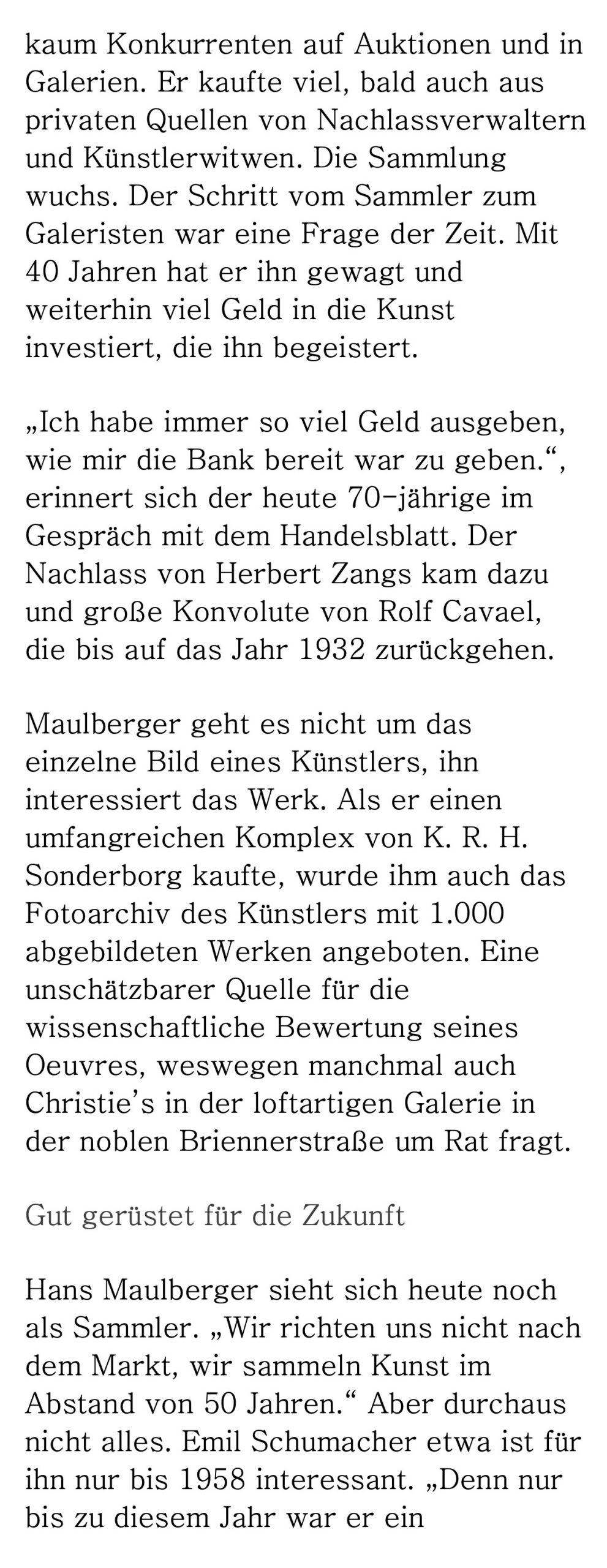 Presse Galerie Maulberger Handelsblatt 2014 04