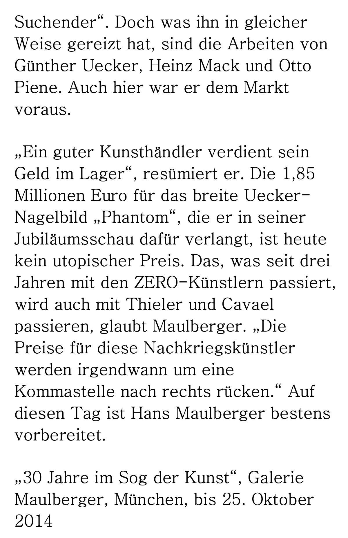 Presse Galerie Maulberger Handelsblatt 2014 05