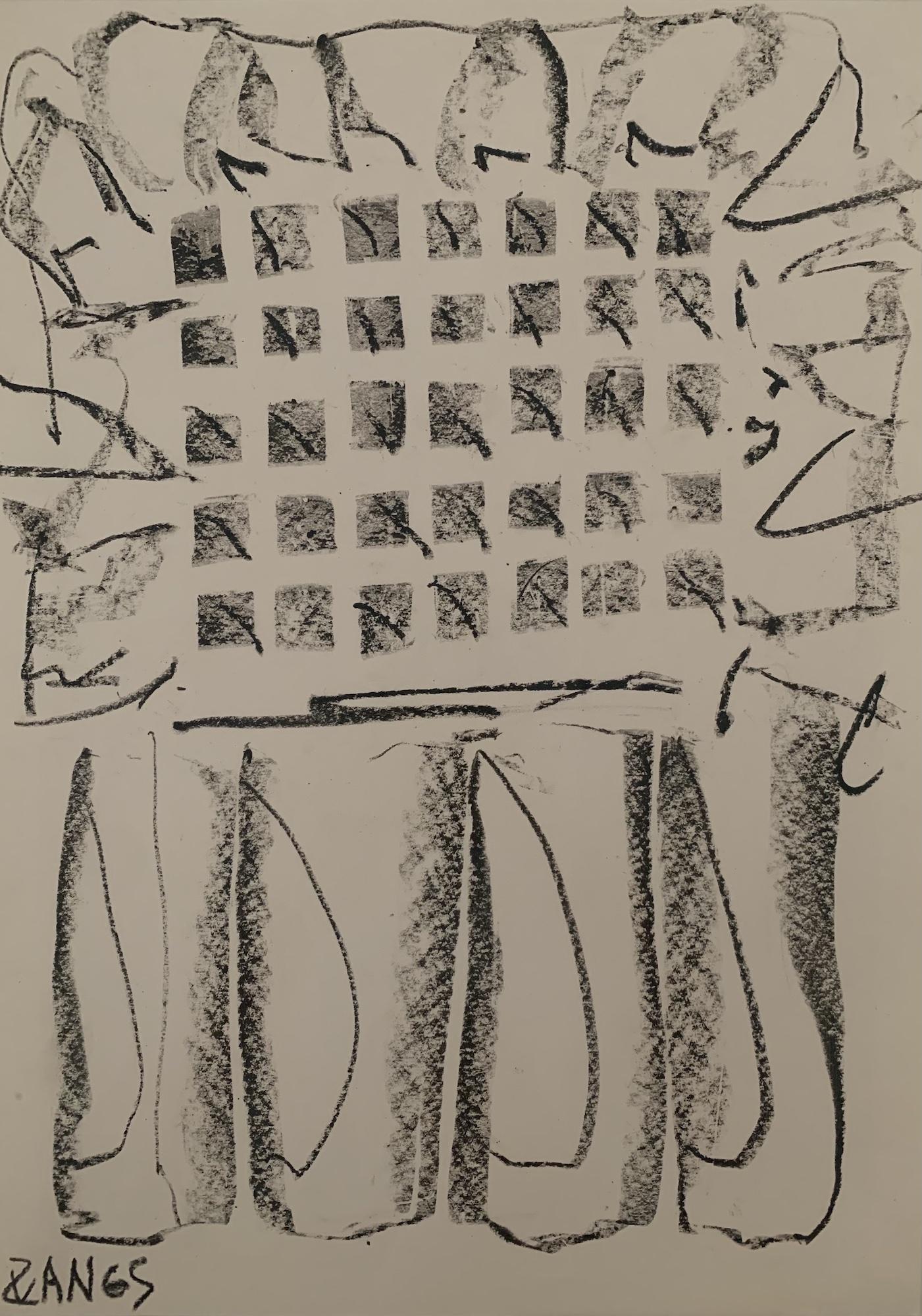 21 – Herbert Zangs (1924 – 2003)<br><br>Ohne Titel / Skizze einer Expansion<br>Kreide auf Papier<br>43,3 x 30,5 cm<br>links unten signiert<br>rückseitig Nachlass-Stempel<br>Provenienz: Nachlass des Künstlers<br>Die Arbeit ist in das das Herbert Zangs Nachlass-Archiv Maulberger aufgenommen.