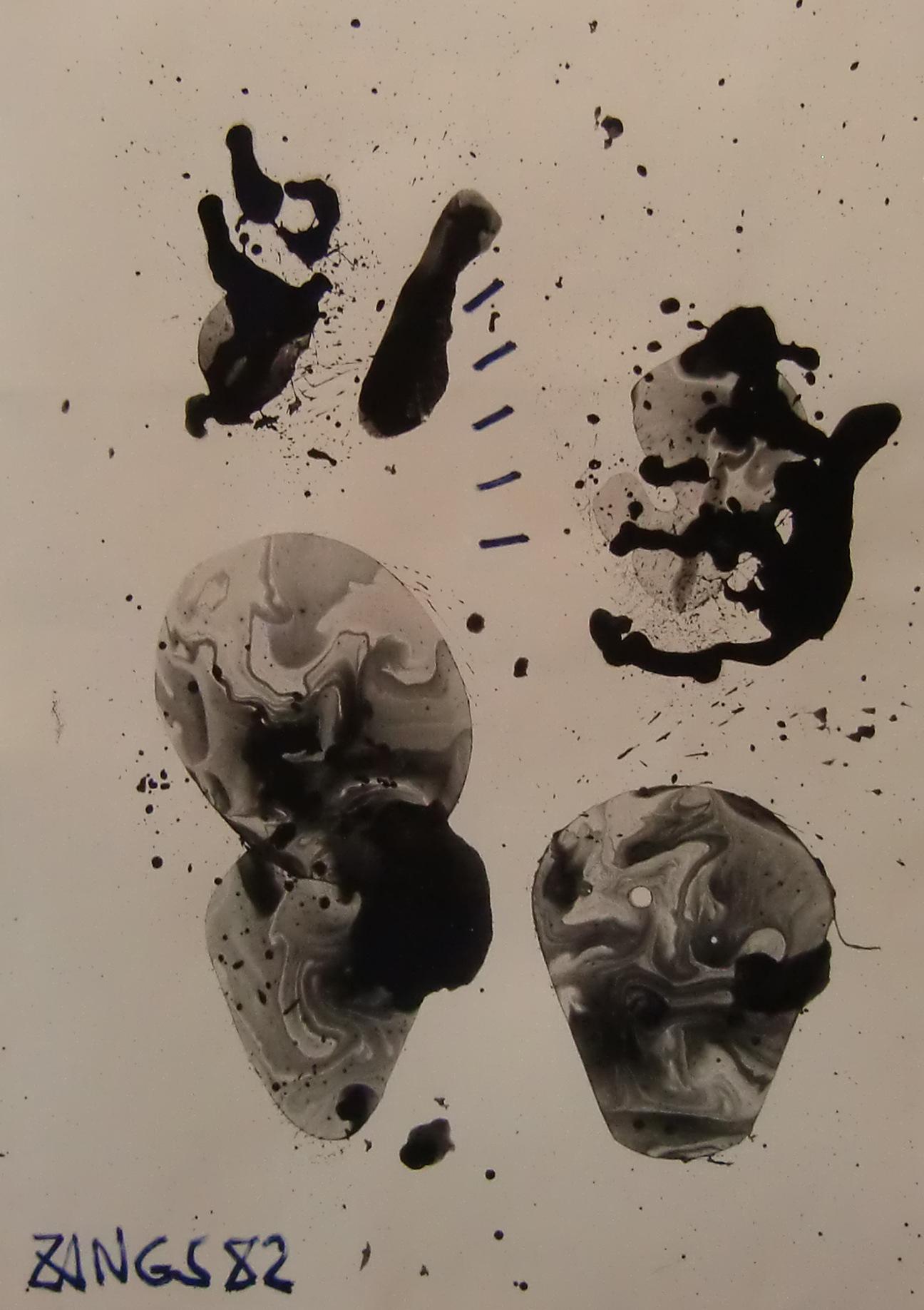 24 – Herbert Zangs (1924 – 2003)<br><br>Ohne Titel / Blasenbild 1982<br>Dispersionsfarbe auf Papier<br>43,0 x 30,6 cm<br>links unten signiert und datiert 82<br>rückseitig Nachlass-Stempel<br>Provenienz: Nachlass des Künstlers<br>Die Arbeit ist in das Herbert Zangs Nachlass-Archiv Maulberger aufgenommen.