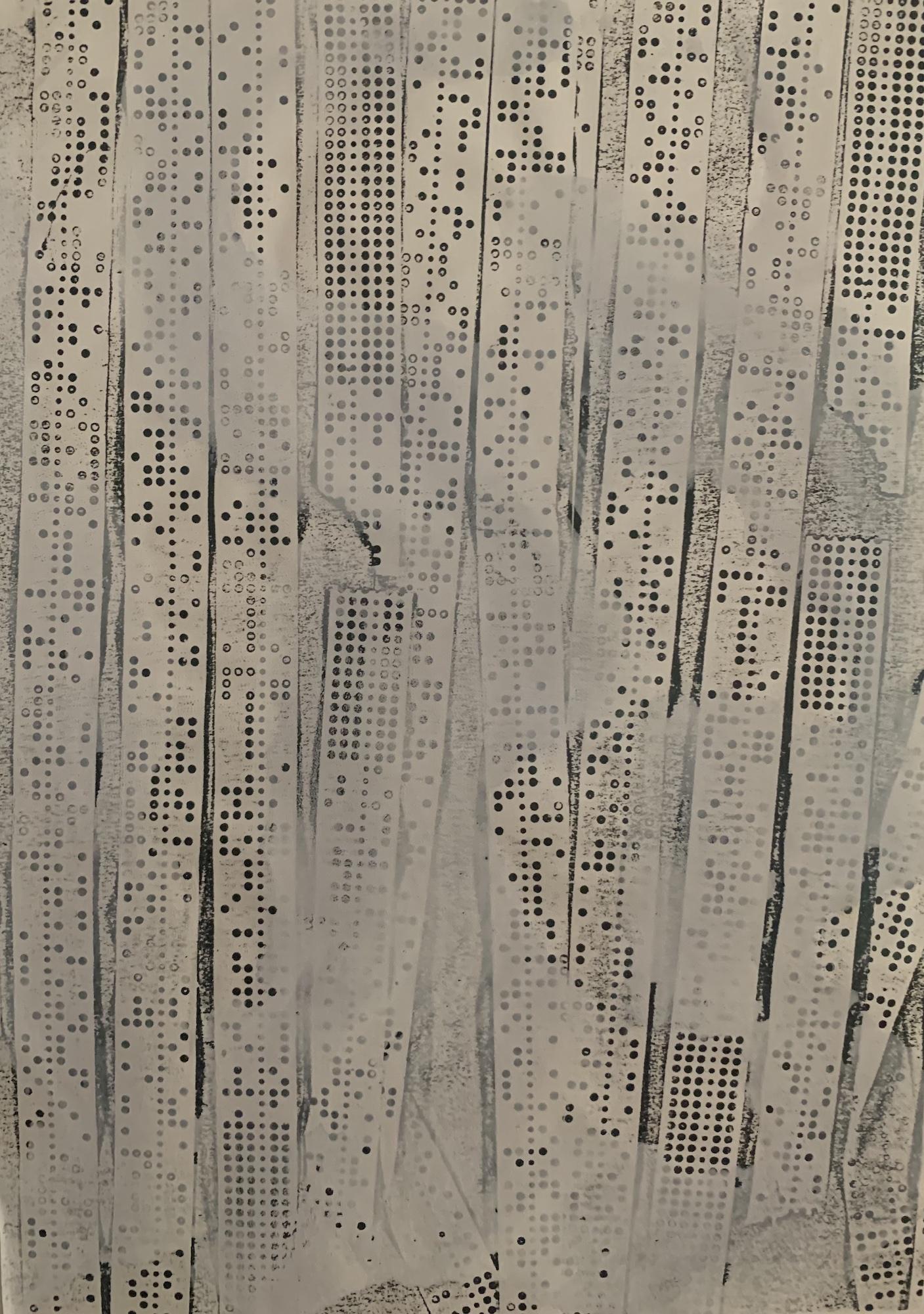 27 – Herbert Zangs (1924 – 2003)<br><br>Ohne Titel / Lochstreifenfotokopie<br>mit weißer Dispersionsfarbe übermalt um 1982<br>29,7 x 21,0 cm<br>rückseitig Nachlass-Stempel<br>Provenienz: Nachlass des Künstlers<br>Die Arbeit ist in das Herbert Zangs Nachlass-Archiv Maulberger aufgenommen.